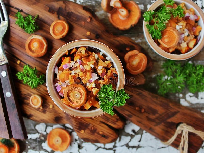 Salad of fresh saffron milk caps. With red onion and fresh parsley and whole mushrooms on a wooden Board royalty free stock photography