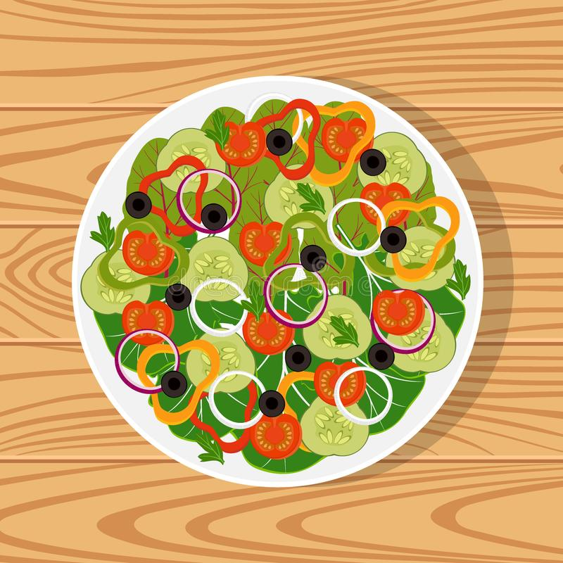Salad with fresh vegetables in a white plate on wooden surface. Tomatoes, cucumbers, onions, bell peppers, black olives, lettuce, stock illustration