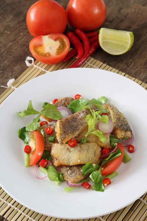 Salad fried trichogaster pectoralis stock image