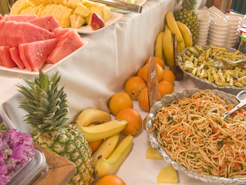 Salad and Fruit Buffet Table. At Brunch royalty free stock photos