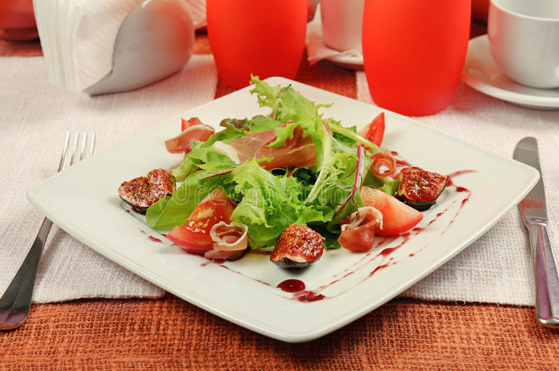 Download Salad with gammon and figs stock photo. Image of calorie - 27708838