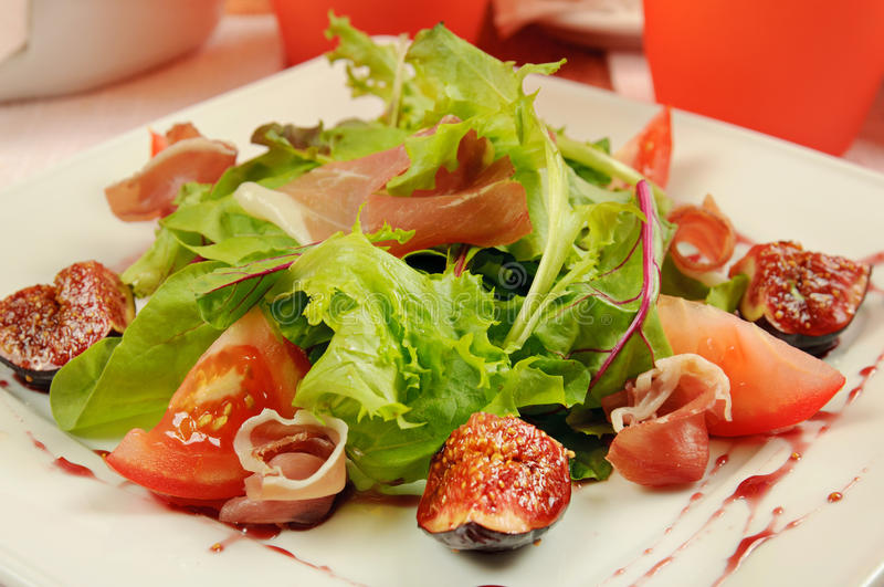 Download Salad with gammon and figs stock photo. Image of figs - 28731240