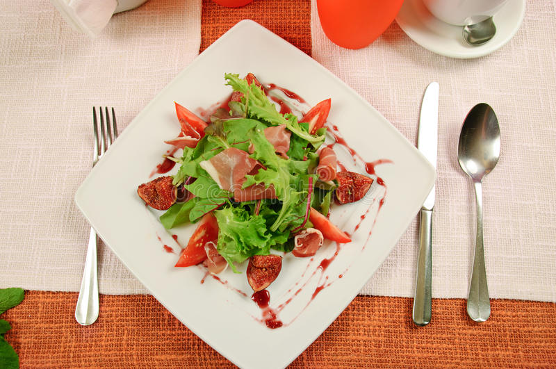 Download Salad with gammon and figs stock image. Image of bacon - 29561329