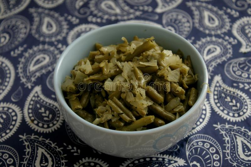 Salad of green beans. A salad of green beans with onions, vinegar and oil royalty free stock image