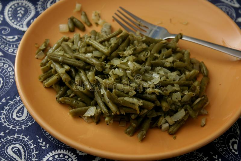 Salad of green beans. A salad of green beans with onions, vinegar and oil royalty free stock photo