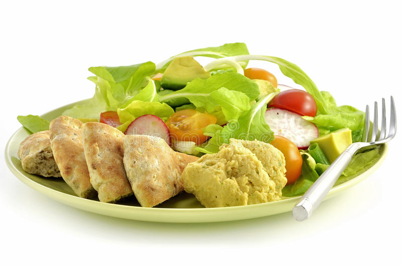 Download Salad With Hummus And Pita Bread Stock Image - Image: 24155517