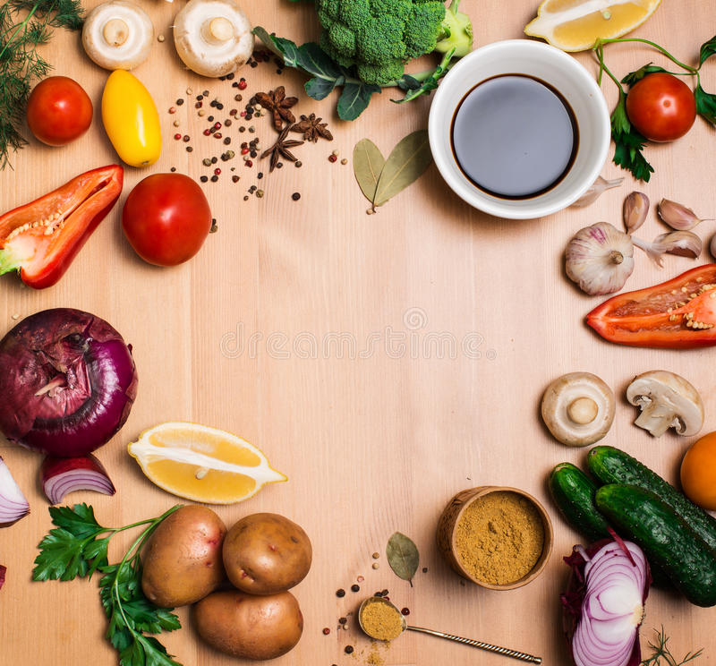 Salad ingredients on rustic wooden background with copy space, r stock image