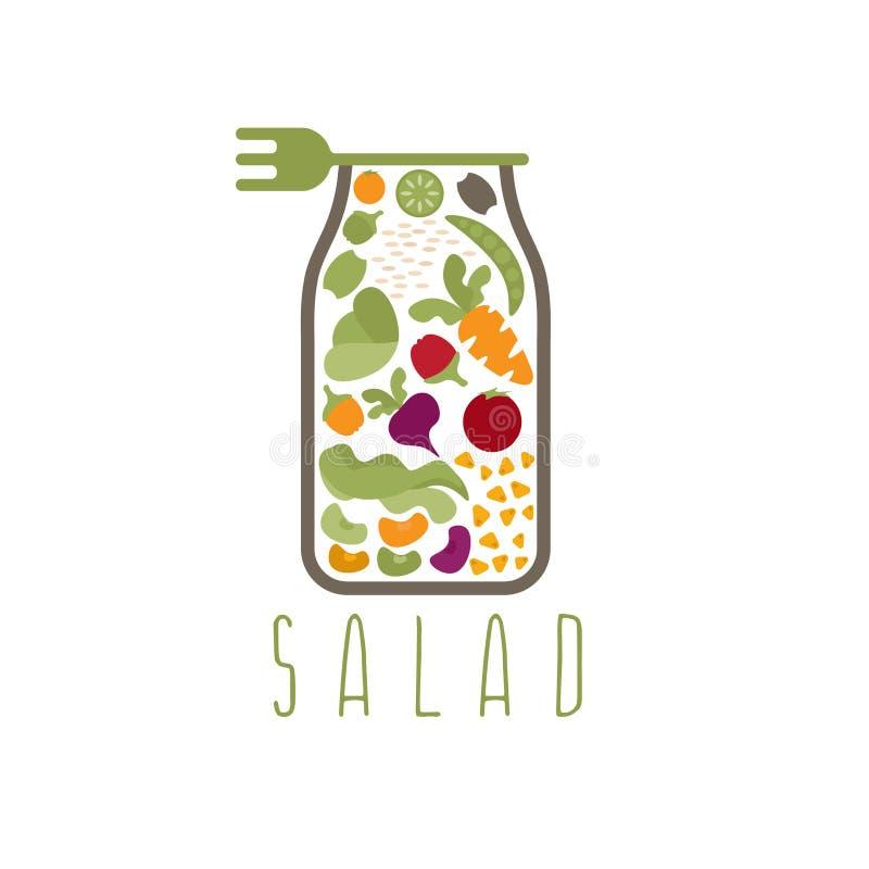 Salad in jar with fork vector design royalty free illustration