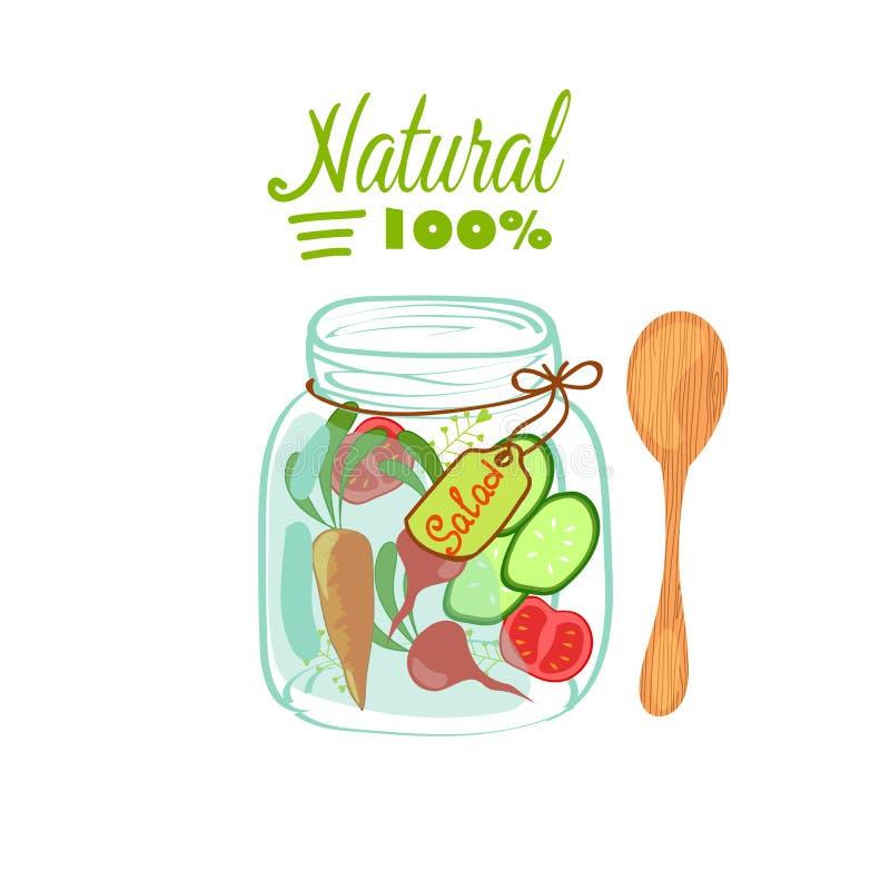 Salad in jar. stock illustration