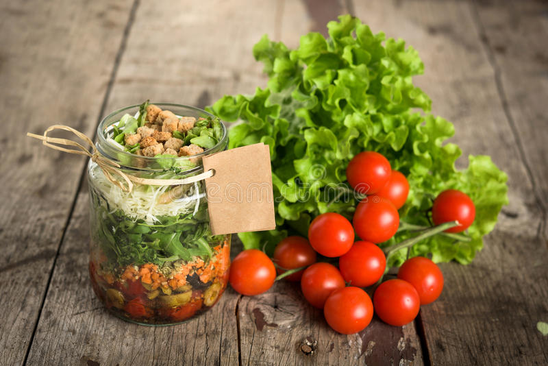 Salad in a jar royalty free stock photos
