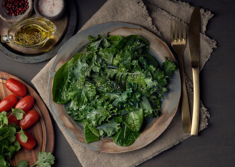 Salad kale, leaf cabbage, cos lettuce green mixture in plate. Undressed fresh leaves. Vegan. Salad kale, leaf cabbage and Romaine or cos lettuce green mixture in royalty free stock images