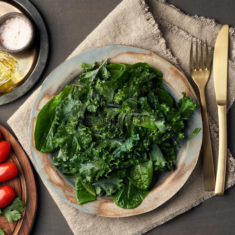 Salad kale, leaf cabbage, cos lettuce green mixture in plate. Undressed fresh leaves. Vegan. Salad kale, leaf cabbage and Romaine or cos lettuce green mixture in stock photography