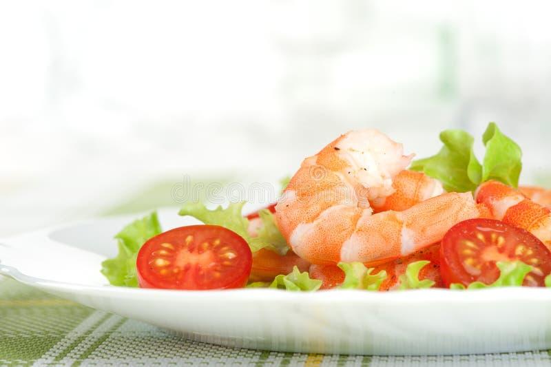 Salad of king prawns stock images