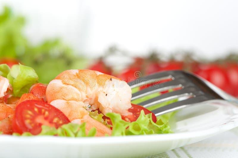 Salad of king prawns royalty free stock photos