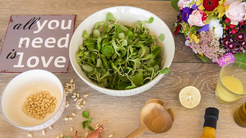 Salad love - mache salad with vinaigrette and pine nuts royalty free stock photos