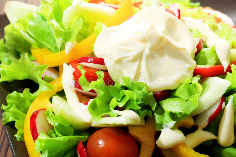 Salad with mayonnaise royalty free stock photos