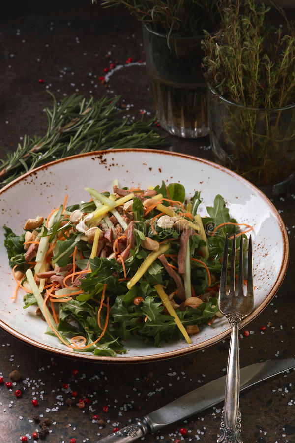 Salad with meat and nuts. royalty free stock image