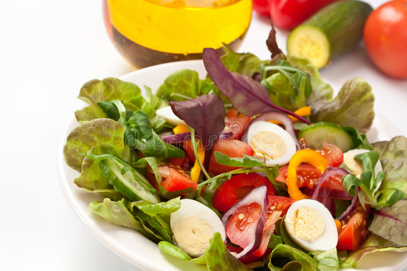 Salad Mix With Quail Eggs Royalty Free Stock Image