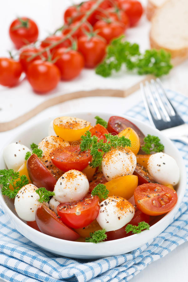 Salad with mozzarella, fresh herbs and colorful cherry tomatoes royalty free stock photography