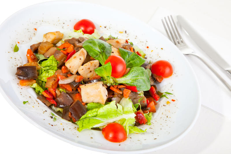Salad with mushrooms and chicken royalty free stock photos