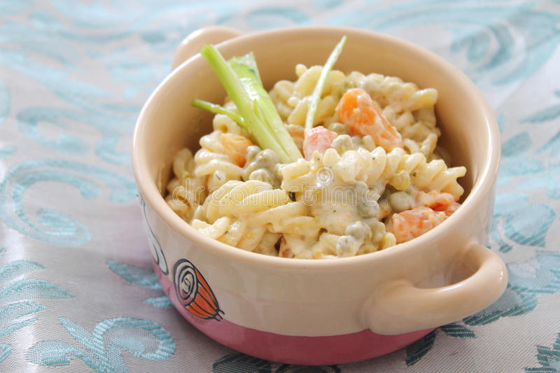 Salad Of Noodles With Peas And Carrots Royalty Free Stock Images