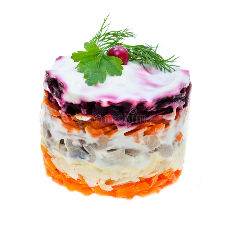 Free Salad Of Vegetables And Fish Herring Royalty Free Stock Photos - 19059038