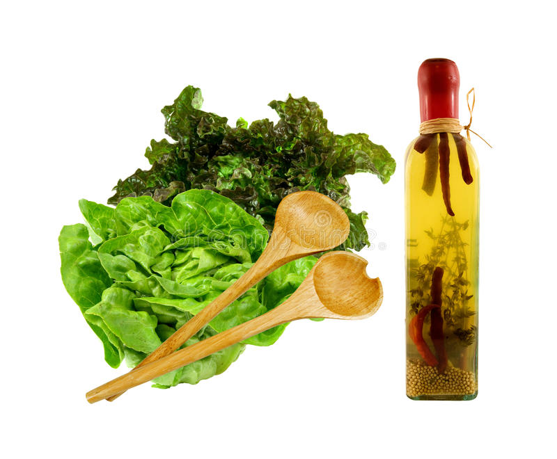 Download Salad With Olive Oil And Serving Set Stock Image - Image: 25832631