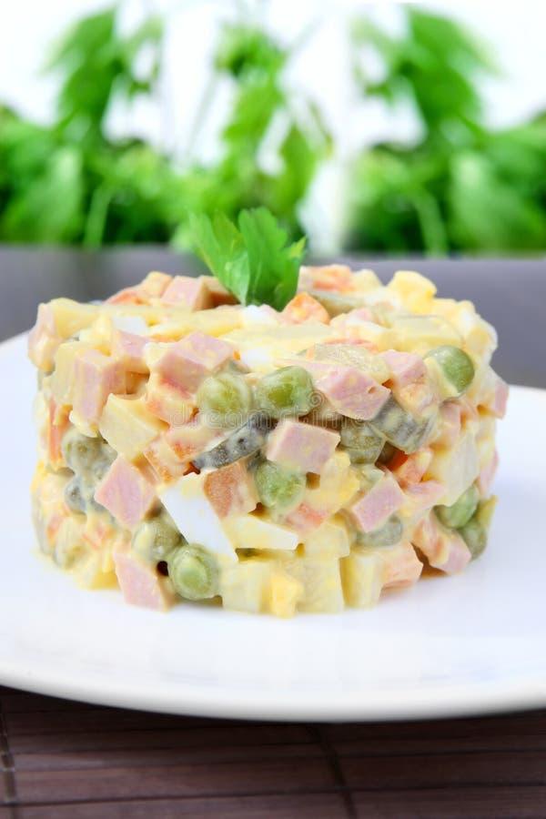 Salad Olivier. Dish salad Olivier, festive salad royalty free stock photos