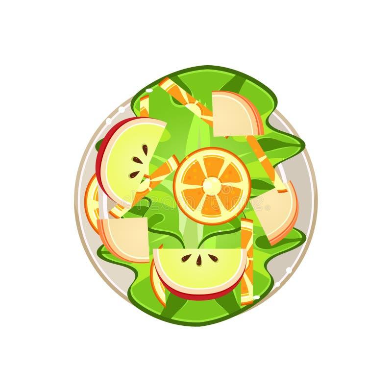 Salad with Oranges and Apple Served Food. Vector. Salad with Oranges and Apple Served Food. Colourful Vector Illustration stock illustration
