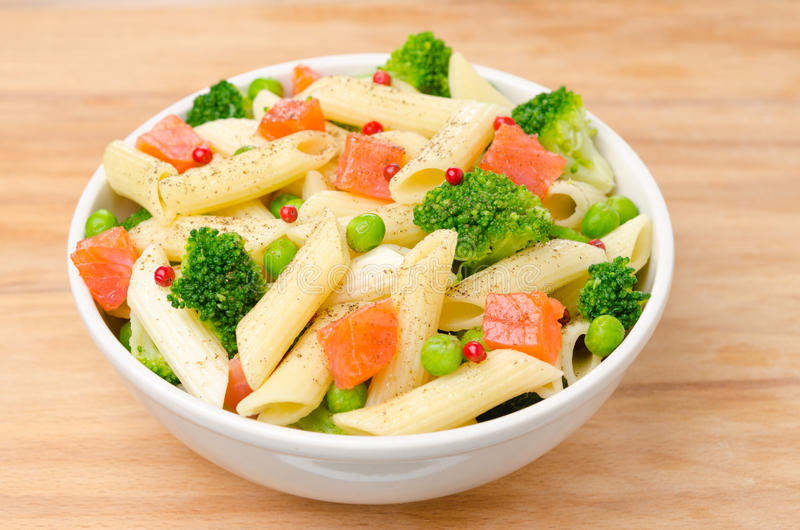 Salad With Pasta Smoked Salmon And Vegetables