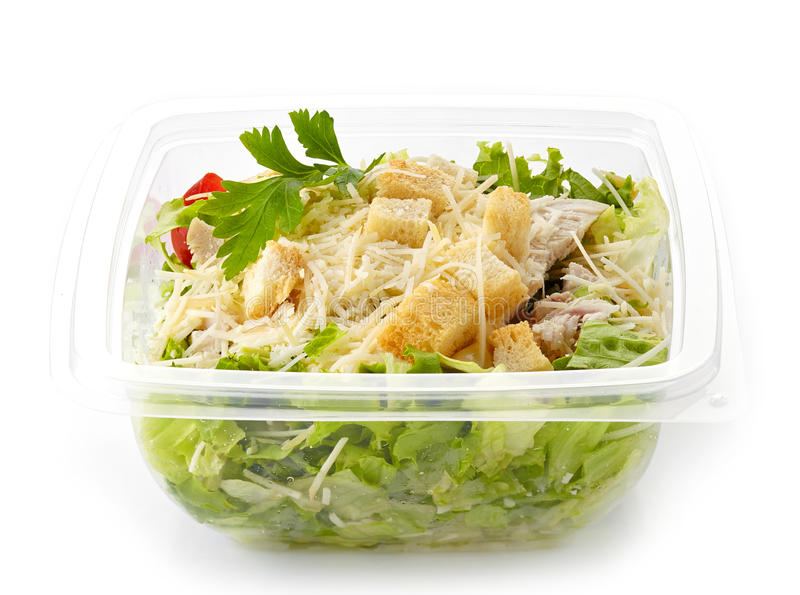 Salad in a plastic take away box royalty free stock photos