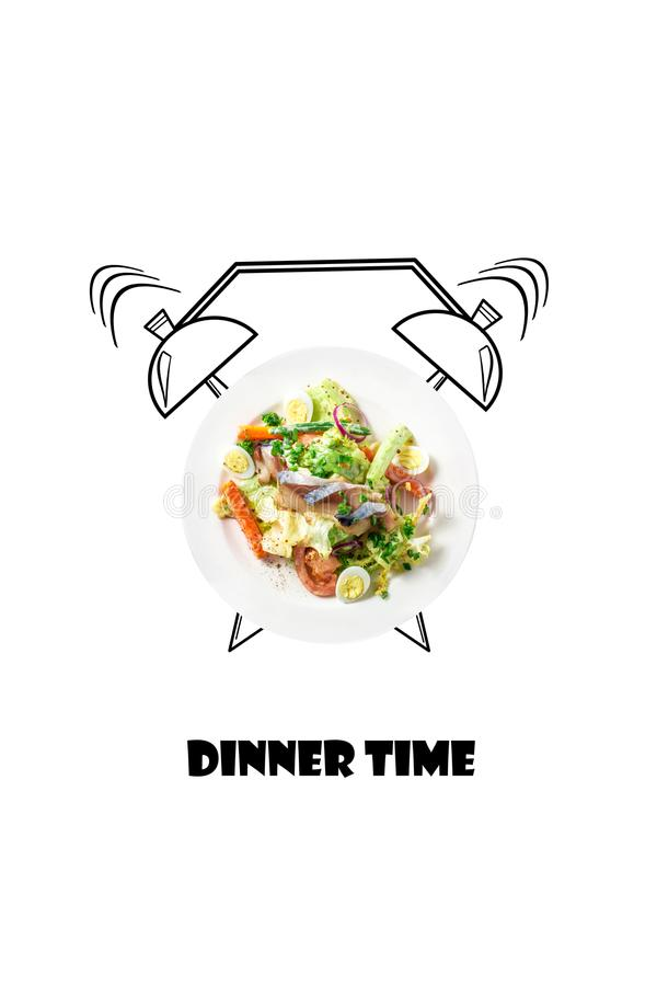 Salad on plate with alarm clock. Dinner time concept. Food illustration isolated on white background. Business lunch menu design. Salad on plate with alarm stock image