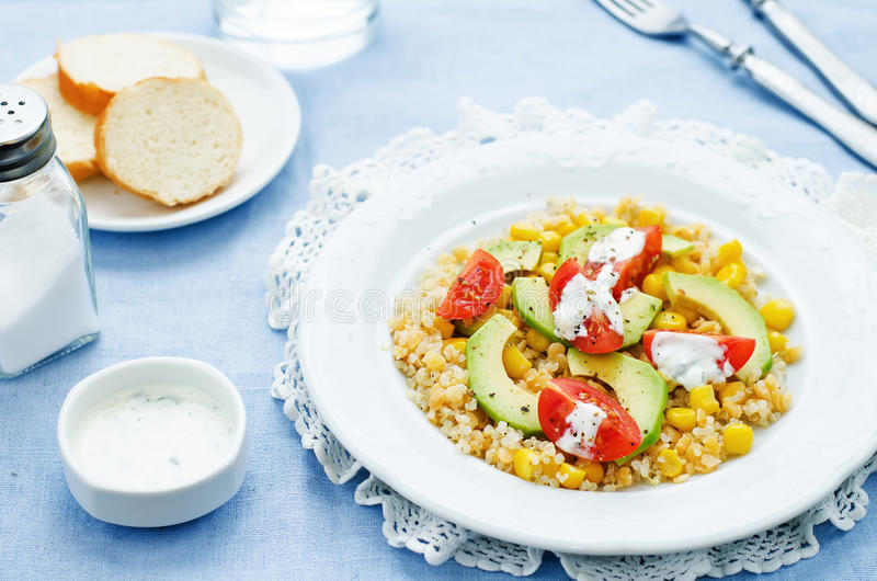 Download Salad With Quinoa, Red Lentils, Corn, Avocado And Tomato With Yo Stock Photo - Image of dinner, rustic: 51081602