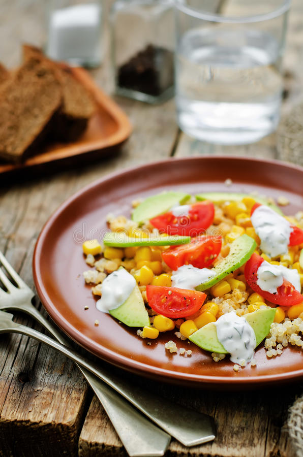 Download Salad With Quinoa, Red Lentils, Corn, Avocado And Tomato With Yo Stock Photo - Image of nature, appetizer: 51081622