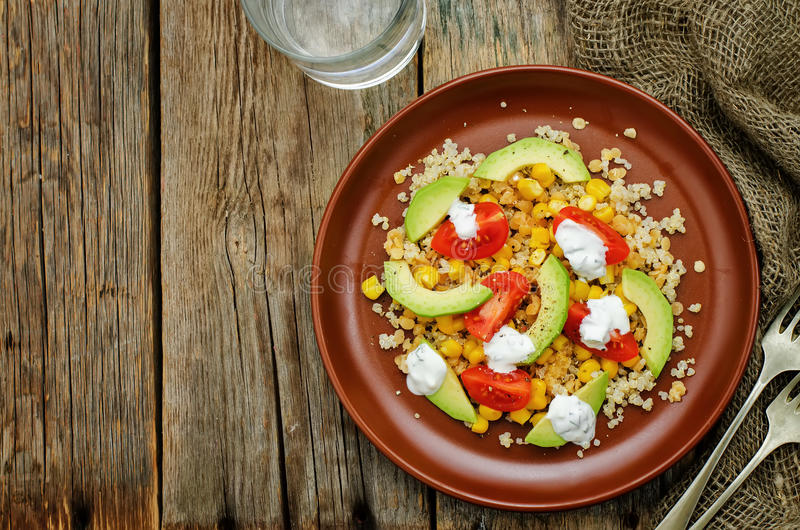 Download Salad With Quinoa, Red Lentils, Corn, Avocado And Tomato With Yo Stock Image - Image of nature, dish: 51081629