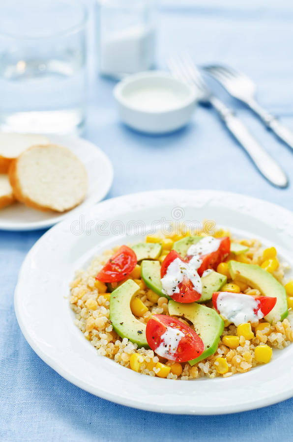 Download Salad With Quinoa, Red Lentils, Corn, Avocado And Tomato With Yo Stock Photo - Image of dark, ingredient: 51082490