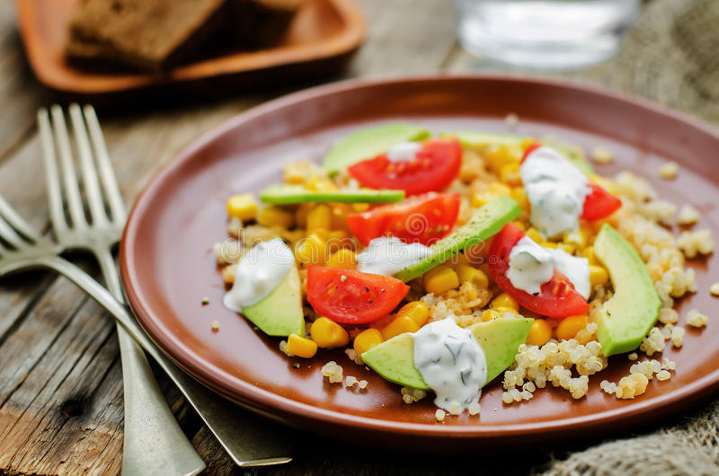 Download Salad With Quinoa, Red Lentils, Corn, Avocado And Tomato With Yo Stock Image - Image of ingredient, nobody: 51082573