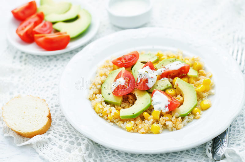 Download Salad With Quinoa, Red Lentils, Corn, Avocado And Tomato With Yo Stock Photo - Image of appetizer, diet: 51083178