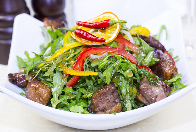 Salad of rabbit liver royalty free stock photography