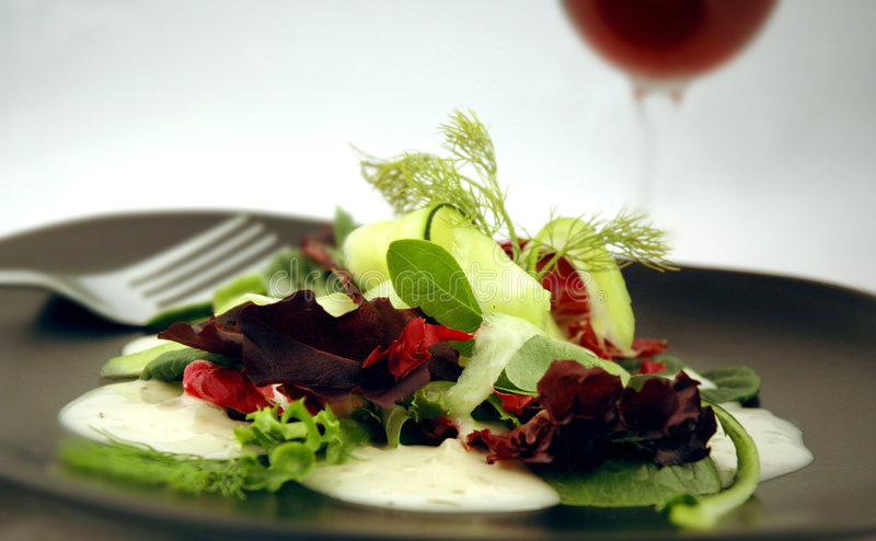 Salad with Red Wine royalty free stock image