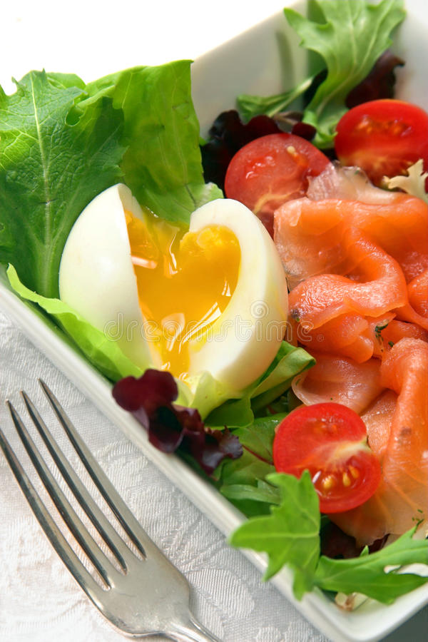 Salad With Salmon And Egg Stock Photos