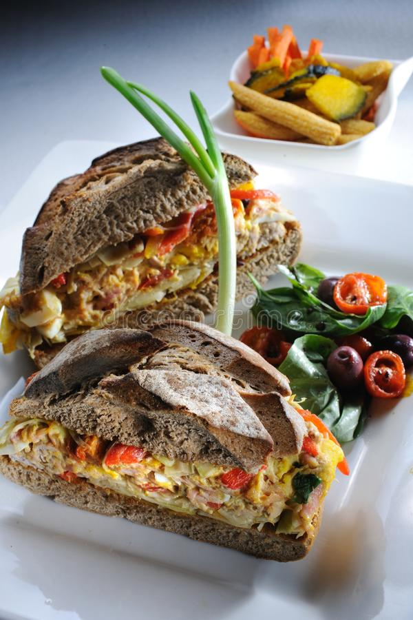Salad sandwich royalty free stock photos