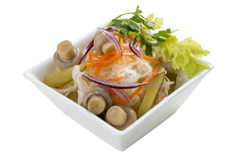 Salad with sauerkraut and homemade pickles. royalty free stock photography