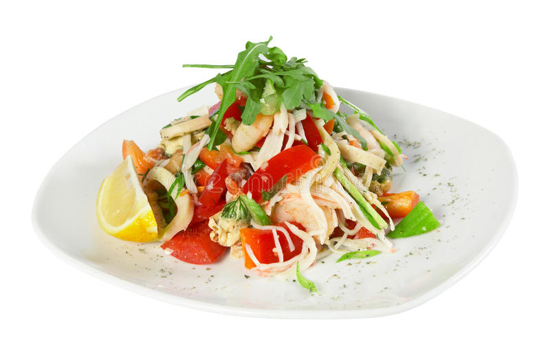 Salad with shrimp and squid royalty free stock images