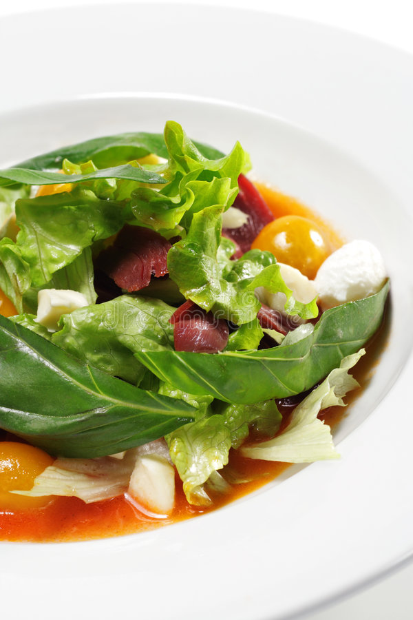 Salad - Smoked Magret with Red Chaud-Froid Sauce. Salad - Smoked Magret (Duck Breast) with Red Chaud-Froid Sauce. Comprises Tomato and Vegetable Leaf stock images