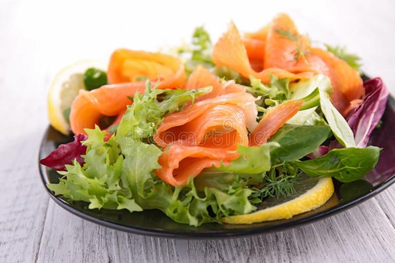 Salad with smoked salmon stock photos