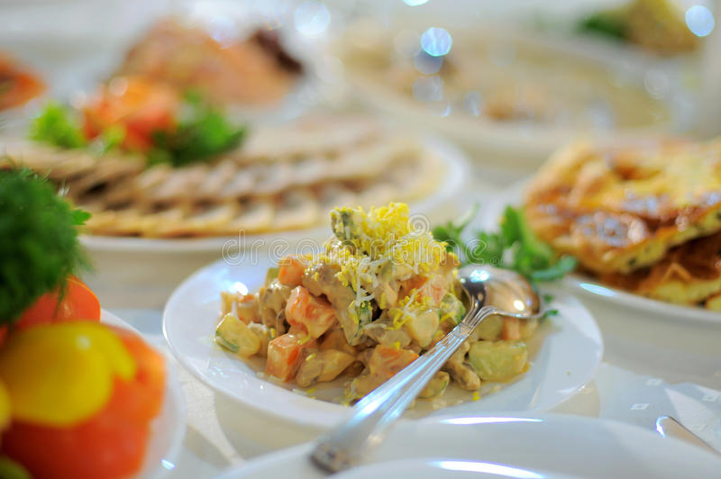 Download Salad with Spoon stock image. Image of center, event - 30614211