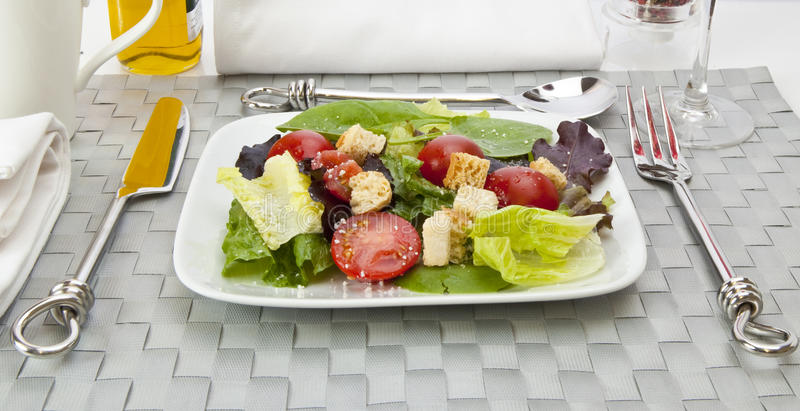 Download Salad with table setting stock image. Image of lettuce - 10541009