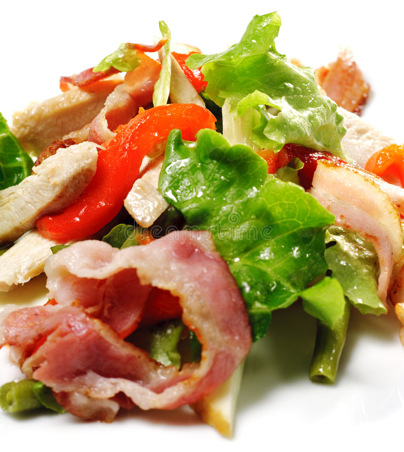 Salad with Thin Meat and Vegetable royalty free stock photos
