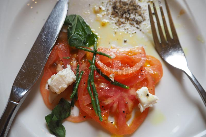 SALAD TOMATO AND CHEESE royalty free stock image